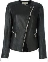 MICHAEL Michael Kors asymmetric chain trim jacket - women - Lamb Skin/Polyester/Spandex/Elastane - 2