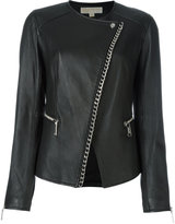 MICHAEL Michael Kors asymmetric chain trim jacket - women - Lamb Skin/Polyester/Spandex/Elastane - 4