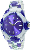 JCPenney TKO ORLOGI Womens Purple Floral Print Bracelet Watch