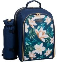 Navigate - Paradise Flowers 2 Person Insulated Picnic Backpack - Blue/Green/Natural