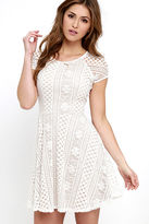 LuLu*s Eagerly Awaited Beige and Ivory Lace Skater Dress