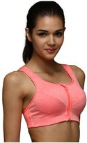 Lotsyle Womens High Impact Front Zipper Support Workout Running Sports Bra -M