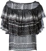 Plein Sud Jeanius ruffled pattern blouse