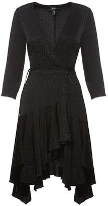 V-Neck Asymmetrical Viscose Print Dress