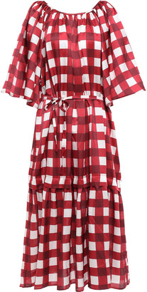 Mother of Pearl Velvet-trimmed Checked Cotton And Silk-blend Midi Dress