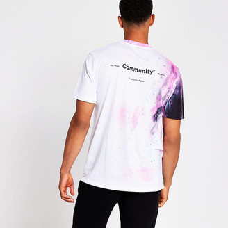 River Island White slim fit printed t-shirt