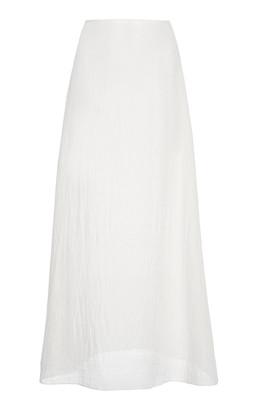 Prada Crinkled Mid-Rise Silk Midi Skirt