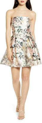 Speechless Floral Print Strapless Fit & Flare Minidress
