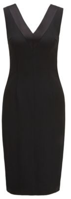 HUGO BOSS V Neck Dress In Italian Satin Back Crepe - Black
