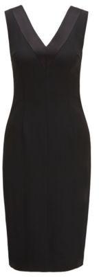 V-neck dress in Italian satin-back crepe