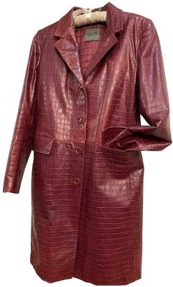Pollini Burgundy Leather Coat for Women