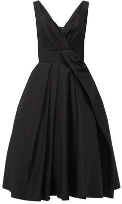 Alexander McQueen Sweetheart-neck Pleated Cotton-blend Dress - Black