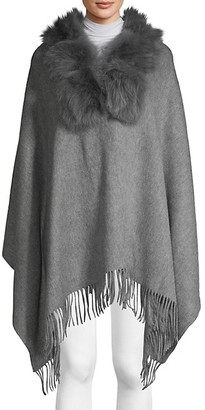 Belle Fare Dyed Fox Rabbit Fur Collar, Wool Cashmere Poncho