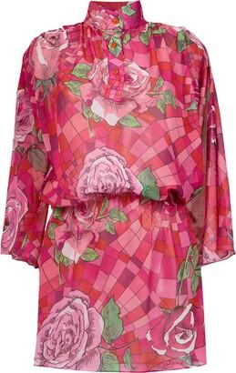 AMIR SLAMA Funel Neck Floral Dress