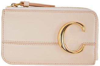Chloé Pink Small C Zip Around Card Holder