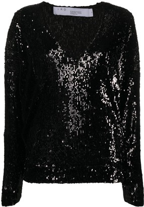 IRO Sequin-Embroidered V-Neck Top