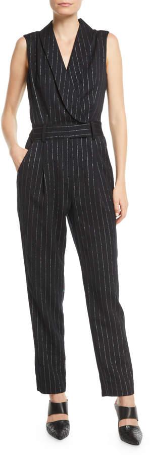 Milly Metallic Pinstripe Tuxedo Jumpsuit