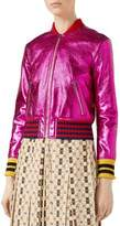 Gucci Metallic Leather Bomber Jacket