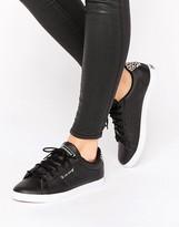 Le Coq Sportif Black Arthur Ashe Sneakers With Leopard Trim