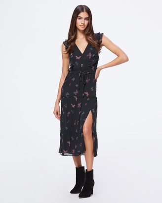 Paige Basil Dress-Black Multi- Neon Butterfly