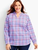 Talbots Womans Exclusive Plaid Ruffled V-Neck Popover