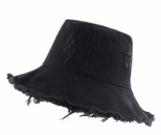 Chennuo Bucket Hat Womens Foldable Cotton Sun Hat Summer Wide Brim Beach Hats Visor Cap (Black)