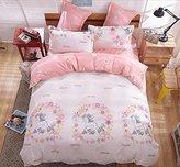 LAGHCAT Kids Bedding Sets Cartoon Pink Unicorn Printed Sheet Set Bedlinens for Teens Boys Girls Bed Queen Size 4Pcs Duvet Cover Set,Unicorn