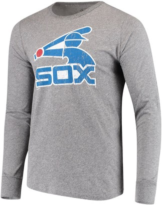 Majestic Men's Threads Heathered Gray Chicago White Sox Cooperstown Collection Tri-Blend Long Sleeve T-Shirt