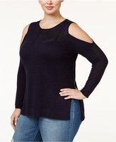 Jessica Simpson Trendy Plus Size Cold-Shoulder Sweater
