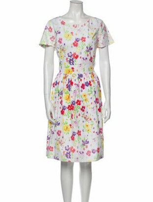 Oscar de la Renta Floral Knee-Length Dress White