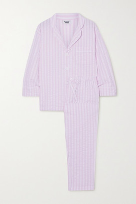 Sleepy Jones Marina Striped Cotton-seersucker Pajama Set - Pink