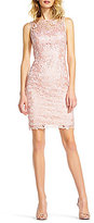 Adrianna Papell Round Neck Sleeveless Sequin Lace Sheath Dress