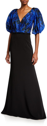 Carmen Marc Valvo Printed-Bodice Puff-Sleeve V-Neck Gown with Crepe Skirt