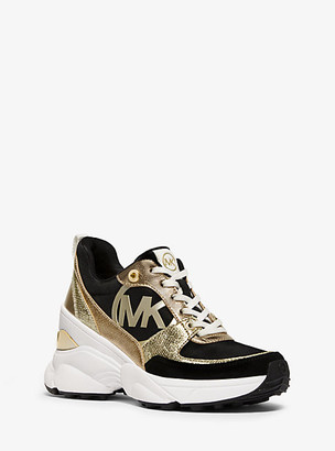 MICHAEL Michael Kors Mickey Canvas And Metallic Leather Trainer