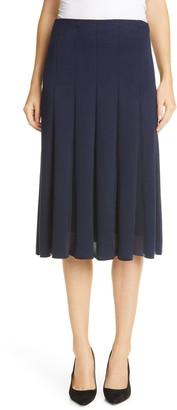 St. John Sheer Inset Modern Pique Skirt