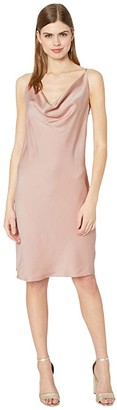 Halston Cowl Satin Slip Dress (Bloom) Women's Clothing