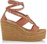 Jimmy Choo DANICA 110 Tan Vachetta Leather Wedge Sandals with Gold Studs