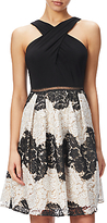 Adrianna Papell Striped Lace Fit And Flare Dress, Black/Ivory