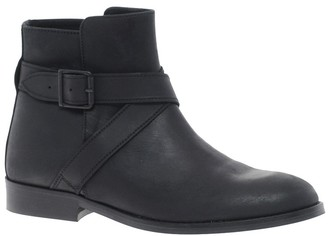 Ganni Leather Flat Ankle Boot with Straps