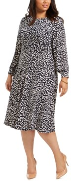 Jessica Howard Plus Size Printed Long-Sleeve Dress