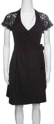Diane von Furstenberg Black Floral Lace Sleeve Detail Elizabeth Wrap Dress XS