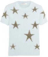 Valentino Star-intarsia Angora-blend Top - Sky blue
