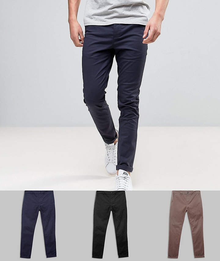 Asos Design 3 Pack Skinny Chinos In Black Navy & Brown Save