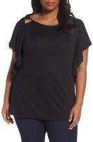 Sejour Plus Size Women's Cutout Ruffle Sleeve Top