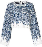 Aviu sequin embroidered cropped top