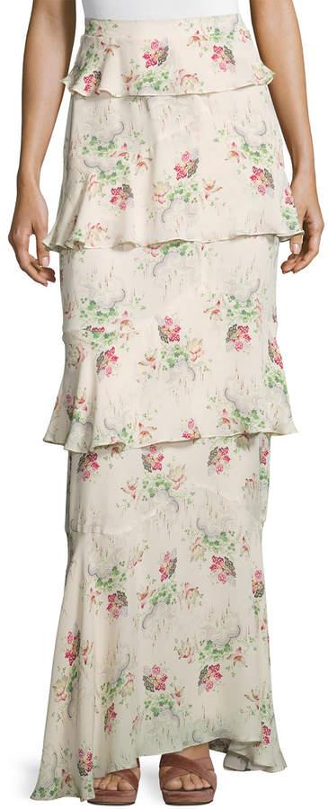 Vilshenko Tiered Flower Cloud-Print Maxi Skirt, Cream/Multi