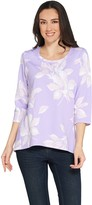 Denim & Co. Active Floral Printed French Terry Hi-Low Hem Top