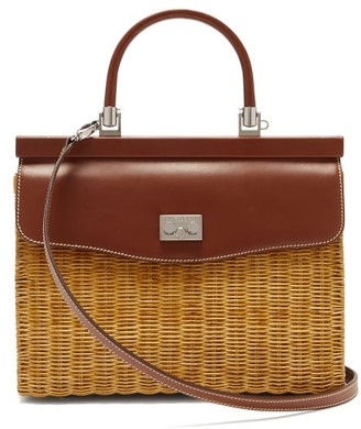 Rodo Wicker & Leather Box Bag - Womens - Brown