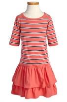 Tea Collection 'Berber Stripe' Short Sleeve Ruffle Skirt Dress (Little Girls & Big Girls)
