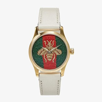 Gucci Yellow Gold PVD Case, Nylon Dial with Embroidered Gold Bee, White Leather Strap (White/Green/Red) Watches
